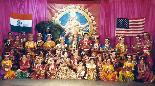 Bharatanatyam dance students after dance function