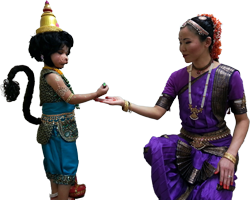 Bharatanatyam dance costumes and props